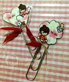 """To do"" Clips. Asian Cards, Dandelion Designs, Shrinky Dinks, Japanese Design, Girl Day, Paper Clip, Origami, Minnie Mouse, Card Making"