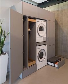 Laundry Room Design, Home Room Design, Bathroom Interior Design, House Design, Laundry Room Storage, Laundry In Bathroom, Small Bathroom, Laundry Cupboard, Casa Milano