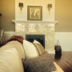 The marble brick fireplace