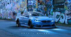 BMW F82 M4 blue widebody