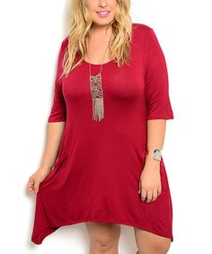 Loving this Shop the Trends Burgundy Half-Sleeve Sidetail Dress - Plus on #zulily! #zulilyfinds