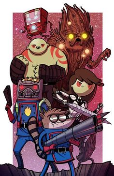 Galaxy Time: A Guardians of the Galaxy, Adventure Time, Regular Show, and Bravest Warriors Mashup! Created by Mike Vasquez & Joe Hogan. Available for sale on Etsy. Comic Collage, Comic Art, Geeks, Adventure Time Personajes, Mordecai Y Rigby, Marvel Comics, Marvel Heroes, Gardians Of The Galaxy, Adveture Time