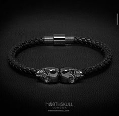 North skull leather bracelet skull bracelet, mens skull bracelet, skull jewelry
