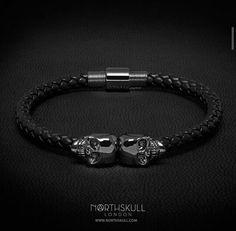 North skull leather bracelet skull bracelet, mens skull bracelet, skull jewelry