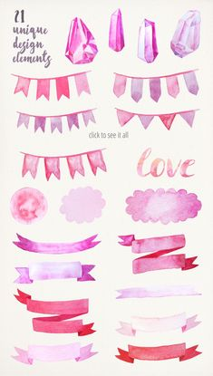 Watercolor Valentine Collection by LarysaZabrotskaya on Creative Market