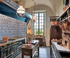Lacanche to La Cornue: 4 Gorgeous French Ranges. I like the addition of tile in a kitchen.