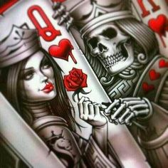 evil queen of hearts tattoo designs Kunst Tattoos, Skull Tattoos, Tatoos, Cholo Tattoo, Tattoo Flash, King Of Hearts Tattoo, Playing Card Tattoos, Playing Cards, Tattoo Ideas