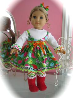 American Girl Doll Clothes, made to fit 18 inch Doll, Christmas Boots,Leggings, Cami with Tshirt