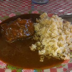 Mole with rice #mole #rice #mexico  #mexicanfood #culture #food #meal #tasty #followme by @theprogabo