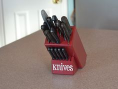 A little paint and some vinyl words and you have a custom knife block.