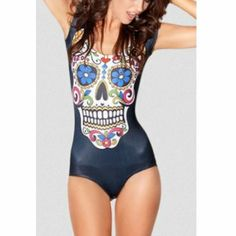 Swimwear Skull Galaxy Bathing Suits for Women One Piece Swimsuit