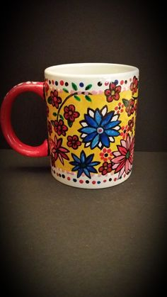Hand Painted Flower Cup, Back View By Kimberley Holland