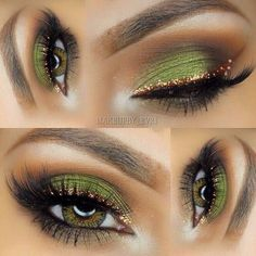 Eyeshadow Looks Gold eyeliner green eyeshadow Gold Eyeliner grünen Lidschatten Sexy Eye Makeup, Eye Makeup Tips, Makeup Hacks, Makeup Goals, Pretty Makeup, Love Makeup, Skin Makeup, Makeup Inspo, Makeup Inspiration