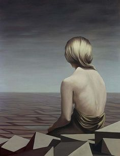 "Kay Sage, ""Le Passage""  my favorite piece of art ... painted by the American surrealist Sage in the year following the death of her love, Yves Tanguy.  1956.  In 1963 her suicide note explained, ""The first painting by Yves that I saw, before I knew him, was called 'I'm Waiting for You' I've come.  Now he's waiting for me again - I'm on my way."""