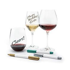 Wine Enthusiast 3-Pack Wine Glass Writer Metallic Pen The Wine Enthusiast