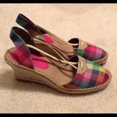 Plaid/Gingham Slingback Wedges Soft Styles by Hush Puppies. In great condition. Only worn once. Great summer shoe! Hush Puppies Shoes Wedges