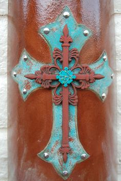 Turquoise Cross Tile Wall Hanging Western Home by getkimskreations