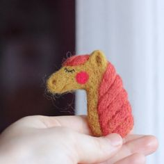 Cute Horse Needle felted brooch by magicbirdie on Etsy