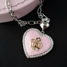 Juicy Couture Chain Gold Necklace With White Heart Crown Charms