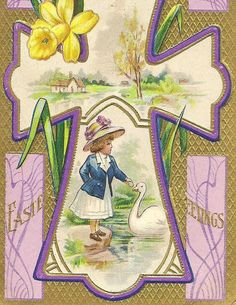 Young Girl Feeds a Swan Inside Ornate Cross on Vintage Easter Postcard Lightly Embossed Beautiful Colors of Gold and Purple