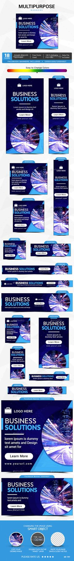 Multipurpose Banners — Photoshop PSD #google adwords #multipurpose • Available here → https://graphicriver.net/item/multipurpose-banners/13541594?ref=pxcr
