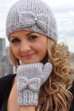 """Ravelry: """"Snow Princess"""" Sequin Hat and Mitten Set with Bow Detail and iPhone Compatibility pattern by Lauren Riker"""