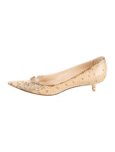 Creme and taupe python Jimmy Choo pointed-toe pumps with tonal stitching throughout and covered kitten heels.