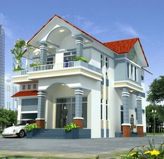 Picture of Two Storey House Two Story House Design, 2 Storey House Design, Village House Design, Kerala House Design, Two Storey House, Bungalow House Design, House Front Design, Duplex Design, My House Plans
