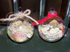 live. love. scrap. cut hearts from old book pages and fill an ornament with them! great gift idea!!