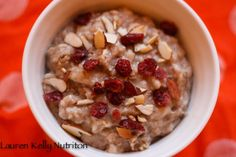 Toasted Almond Cranberry Oatmeal in the Slow Cooker~ Lauren Kelly Nutrition