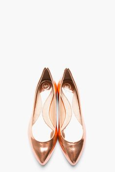 Metallic rose gold Leather Pointy Toe Flats
