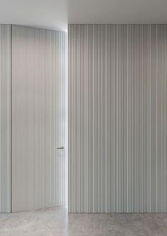 WALL wall cladding with integrated door design Massimo Cavana - Use for Entry storage wall Hidden Doors In Walls, Windows And Doors, Dark Doors, Interior Walls, Wall Cladding Interior, Wall Cladding Designs, Door Wall, Wall Wood, Wood Wall Paneling