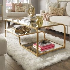 Wayfair Roepke Mirror Coffee Table. Champagne gold finish. 2018 home decor trends. (affiliate)