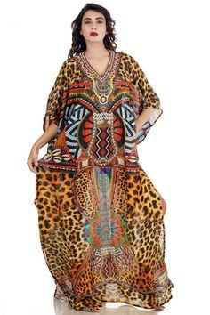 10af6eff60 Soft and Downy Leopard print Designer Silk Kaftan Clam-shell pattern