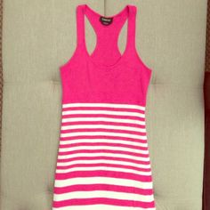 Bebe Adorable summer dress Super cute pink and white striped knit Bebe Tank dress, empire waist, lightly lined from the waist down I'd keep but it's too small bebe Dresses Midi