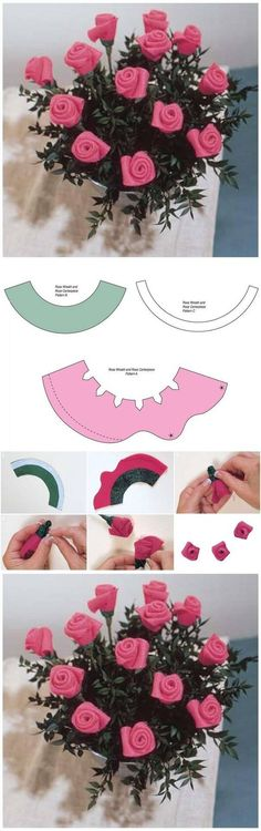 DIY Template Felt Rose Bouquet: