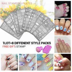 8pcs Nail  Stencils set 3 Nail Art Image Printing Beauty Designs Women Tips Nails Stamping Plates Nail Art Polish Templates