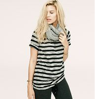 Lou & Grey Striped Drawstring Tunic - Introducing a new line of easy, texture-rich pieces for your every day. A drawstring lends sweatshirt attitude to this everyday-effortless piece. Boatneck. Cuffed short sleeves. Adjustable drawstring hem.