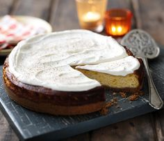 Pumpkin cheesecake is the perfect way of using up hollowed-out pumpkin purée