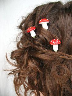 Mushroom Hair Pins Create a faerie ring in your. Craft Font, Red And White Mushroom, Mushroom Hair, Bijoux Art Nouveau, Mori Girl Fashion, Piercings, Forest Girl, Fungi, Faeries