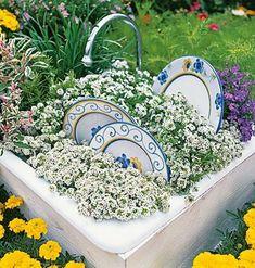 Gartendekoration selber machen - garten dekoration selber machen bemalte porzellanteller blumenstaude