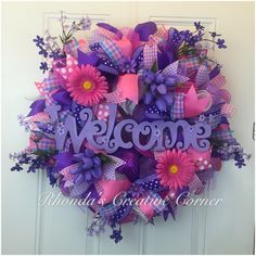 Spring Deco Mesh Wreath, Spring Wreath, Pink and Purple Spring Wreath, Deco Mesh Wreath, Spring Door Decor by RhondasCre8iveCorner on Etsy