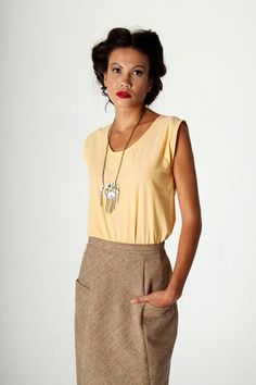 Sleeveless Cropped Organic Cotton Shell Top / Yellow by brmstudio