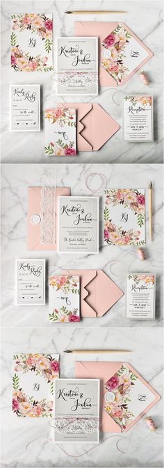 pink and peach botanical wedding invitations