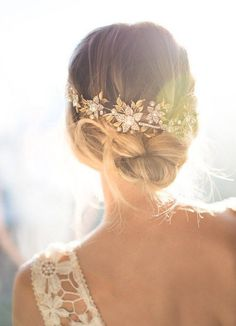 Wedding Updo Hairstyle with Boho Gold Hair Halo Hair Vine
