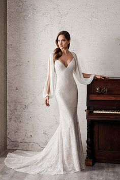 eddy k 2019 couture bridal long hanging sleeves spaghetti strap diamond neck ful. - - eddy k 2019 couture bridal long hanging sleeves spaghetti strap diamond neck full embellishment glitzy elegant fit and flare wedding dress cross strap. Fit And Flare Wedding Dress, Long Wedding Dresses, Bridal Dresses, Wedding Gowns, Bridesmaid Dresses, Couture Dresses, Mermaid Dresses, Mode Inspiration, Beautiful Gowns