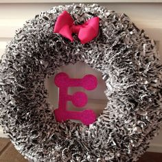 Pink & Zebra Birthday Party wreath.