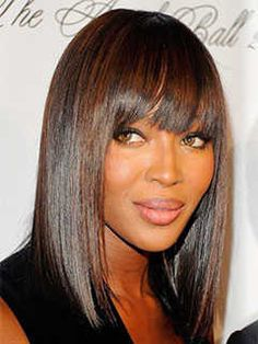 Short Haircuts for Heart Shaped Faces: Bob with Bangs, Naomi Campbell