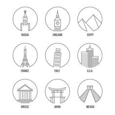 World landmark line art icons set by Microvector on @creativemarket