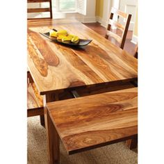 @Overstock - This piece accentuates the beautiful natural characteristics of Sheesham wood.  The wood grain and finish is part of its natural beauty.http://www.overstock.com/Home-Garden/Corvallis-Natural-Wood-Dining-Table/5715941/product.html?CID=214117 $892.00